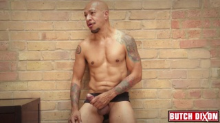 sexy bald daddy josh dors jerks his uncut cock
