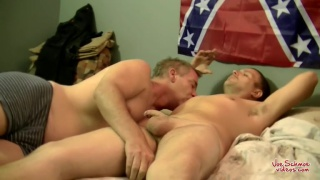 straight guy blows his wad under the confederate flag