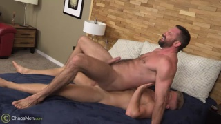 bearded guy rides a blond reverse cowboy