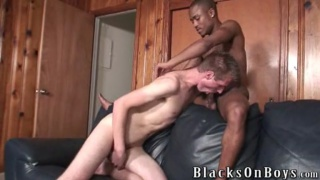 Young black stud fucks white boy