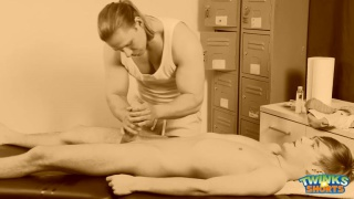 Trent Tarzan services Justin Alexander on massage table