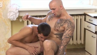 inked muscle top bare fucks a horny young bottom