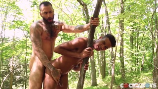 Kris Karr rides Rikk York's dick in the woods