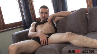 handsome hunk strokes his big dick