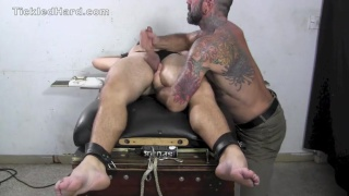 Dillon is tied up, tickled and jacked off