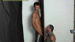 eddy slides his dick through a gloryhole