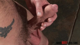 bald british muscle hunk jerks his meaty cock