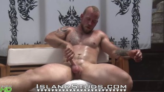 Bearded Muscle Mountain Man jerks his 8 inches