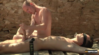 twink bottom Charley Cole tied up for his master