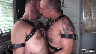 leather men Jay Ricci and Bruce Bacch bareback fucking