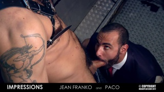 Jean Franko fucks executive hunk paco in a bar