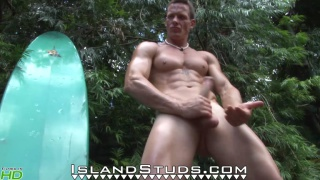 bodybuilder surfer Miller poses, pees, and jerks
