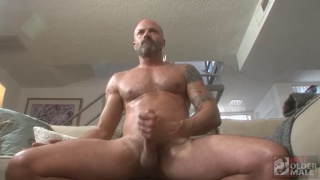 bald hunk Dave Rex jerks his perfect cock