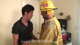 fireman gets his ass fucked by home owner