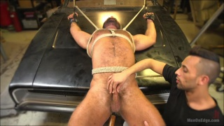 beefy mechanic Steven Roman tied up and edged