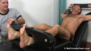 Hoytt Walker strapped into the Tickling Chair