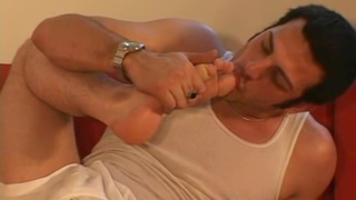 Straight porn star sucks his own toes