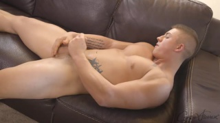 sexy hunk Ryan jerks his cock
