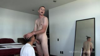 Landon Gets a Blowjob in his uniform