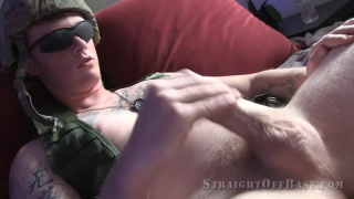 corporal Rooster jerks his hard cock