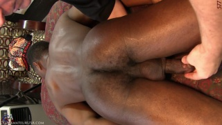 hung black guy gets fingered on massage table