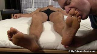 sergey gets his size 13 feet licked while sleeping