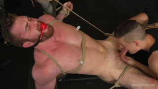 Ginger Muscle hunk Tormented and Edged in gym