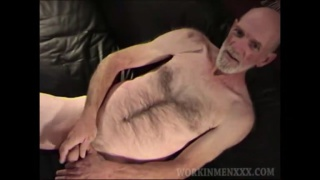 redneck with silver beard jerks his dick