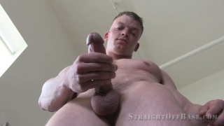 muscular 21-year-old Marine strokes his dick