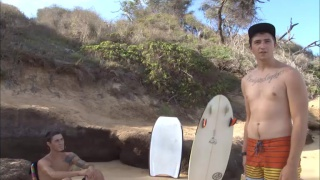Surfer dudes Naked in Hot Public Boy Duo
