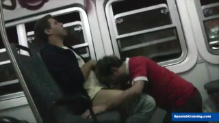 guys suck and fuck on a train