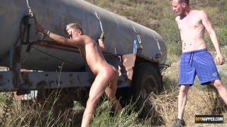 naked twink tied to an abandoned tanker and fucked