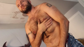 bald and bearded Russian daddy jerks off