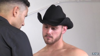 Trevor Long fucks Gabriel D'Alessandro in his cowboy hat