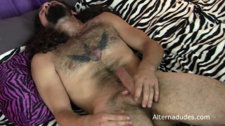 Long-Haired Hippie gets dildo fucked