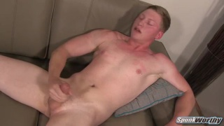 blond military stud Austin strokes his big dick