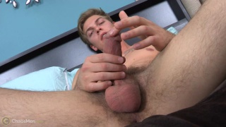 tall and lean blond guy jerks his cock and plays with precum