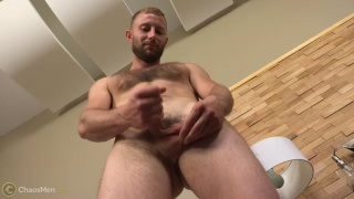 furry construction worker masturbates in first porno