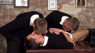 three school boys fuck on the teacher's desk