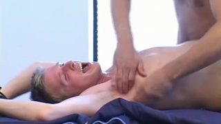 blond lad billy howls during tickling session
