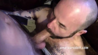 Randy gets his big cock sucked by bald man Jaxon