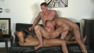 Ivan Gregory gets spit roasted by Denis Sokolov & Lucas Fox