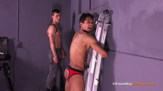 jared ties Matie to a ladder and beats his naked body