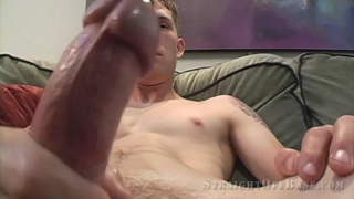 marine plays with his big thick penis