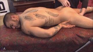 straight hunk izzy gets fingered on massage table