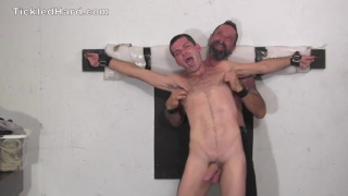 country boy tied to the wall and tickled