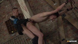 unlucky boy stripped and restrained and strapped