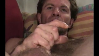 hairy man Rick jerks his cock