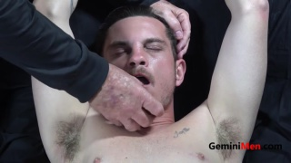 restrained straight guy begs for release