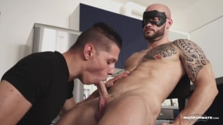 bald bearded hunk gets his dick sucked